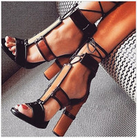 chunky heeled schuhe groihandel-Newest Sexy Patchwork Chunky High Heels Summer Shoes Women Sandals Thick Heels Cross-tied Ladies Zapatos Patch Color Pumps Woman