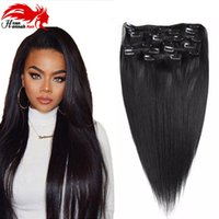 Wholesale Clip Hair Extensions Straight - Hannah product Clip In Human Hair Extensions 10Pcs Set Natural Color 140G Brazilian Straight Virgin Hair