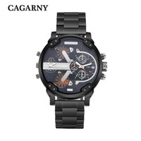 Wholesale Dual Movements - New luxury brand CAGARNY Large Dial Men's military watch stainless steel belt men's sports watch dual movement work automatic date display f