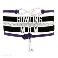 Wholesale Angels Bowls - (10 Pieces Lot)Infinity Love Bowling Mom Bowling Charm Suede Leather Wrap Bracelets For Women Men Gifts Jewelry