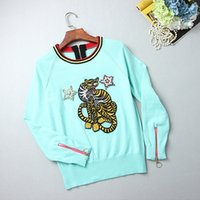 Wholesale Studded Sweaters - Free Shipping 2017 Green Pullovers Brand Same Style Sweaters Long Sleeve Crew Neck Regular Embroidery A star studded G65