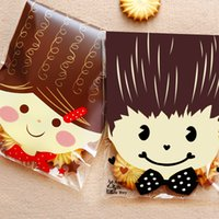 Al por mayor-25PCS / Lot Baby Shower Girls Boys Bolsa de regalo Kawaii Bolsas de galletas de boda Bolsas de empaquetado de plástico para galletas Snack Baking Package