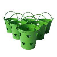 mini baldes verdes venda por atacado-D6 * H5.5CM verde pequeno balde coração forma bonito mini balde decoração do casamento balde favor partido suprimentos