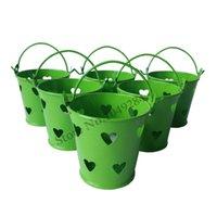 ingrosso mini vaschette verdi-D6 * H5.5CM verde piccolo secchio a forma di cuore carino mini secchio decorazione di nozze pail favore rifornimenti del partito