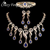 Wholesale Drop Gem Bib - 4Pcs Luxury Wedding Bridal Jewelry Sets Gold Plated Blue Gem Stone Crystals Water Drop Beads Tassel Bib Statement Necklace