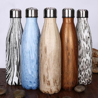 Wholesale Stainless Steel Bowls Lids - Wooden Color 17oz Cola Shape Vacuum Insulated Stainless Steel Water Bottle for Outdoor Sports Leopard Bowling Bottle CCA6321 50pcs