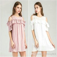Wholesale Pink Dresses United States - Europe and the United States style lotus leaf strapless skirt dress Women's Dresses white pink material: polyester
