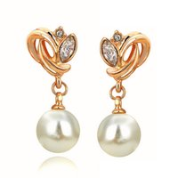 Wholesale Swa Stud - New Fashion Jewelry Pearl Earrings Yellow Gold Plate SWA Element Austrian Crystals Flower Earrings for Women for Party