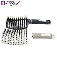 Wholesale Hair Extension Combs Brushes - GH Angel Bristle&Nylon Detangle Hairbrush Hair Scalp Massage Comb Wet Hair Brush for Salon Hairdressing Styling Tools Hair Extension Brush