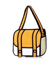 Wholesale Women Fashion Drawings - Wholesale-2015 New Fashion 2D Bags Novelty Back To School Bag 3D Drawing Cartoon Comic Handbag Lady Shoulder Bag Messenger 6 Color Gifts