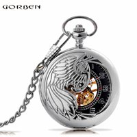 Wholesale Men Watch Automatic Pocket - Wholesale-Fashion Phoenix Wing Hollow Silver Case Black Dial Skeleton Automatic Mechanical Men Women Pocket Watch FOB Chain Gift P380