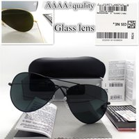 Wholesale Golden Stickers - AAAA+ quality Glass lens Men Women Polit Fashion Sunglasses UV Protection Brand Designer Vintage Sport Sun glasses With box and sticker