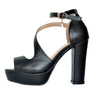 zapatos de vestir de tacón grueso para mujer al por mayor-Kolnoo hecho a mano para mujer Chunky Heel Peep Toe sandalias hebilla correas vestido de fiesta Sexy Summer Shoes XD347