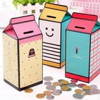 huchas gratis al por mayor-2017 nuevos frascos de almacenamiento frascos lindo diy botella de leche hucha caja de ahorro de dinero contador de monedas envío gratis