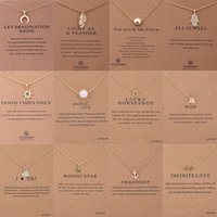 Wholesale Wholesale White Gold Pearl Necklace - Chokers Dogeared Choker Necklaces With Card 12 Styles Pendant Necklace New Fashion Jewelry For Women Gifts