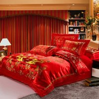 Wholesale Dragon Comforter King Size - New Design Chinese Style Wedding Bedding Set Dragon Printed Luxury Bedding Sets Comfortable Bedclothes Queen Size