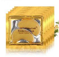 24k masken groihandel-Vorhanden Collagen Gold Powder Augenmaske Anti-Falten-Kristallaugenmaske 24K Golden Mask kleben an dunklen Ringen