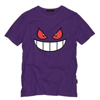 Wholesale Yellow Long Sleeved Tshirt - Wholesale- Anime Cartoon Gengar Adult Tshirt O Neck Top Tees Casual Short-Sleeved T-shirt Creative Men T Shirts