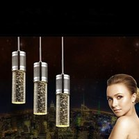 Wholesale Modern Shade Chandelier - Modern light Crystal Pendant Lamp Bubble Crystal Light with LED Bulb Cylinder Shade Droplight Chandelier Ceiling Light Bar Dining Room Lamp