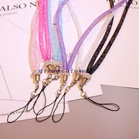 Wholesale Neck Bling Lanyard Crystal Rhinestone - Luxury Bling Crystal Rhinestone Lanyard Diamond Hanging Rope Necklace String Neck Chain Sling Colorful for iphone ID Card Keychain Universal
