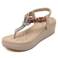 sandalias de tacón bajo cuñas al por mayor-Sandalias de mujer Plataforma de punta abierta Sandalias de moda Cuñas de tacón bajo Vestido informal al aire libre Zapatos de verano Sandalias ocasionales de mujer