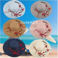 Wholesale Happy Caps Wholesale - Fashion wide Brim summer beach sun hats for women Letter Happy Embroidery straw Hats caps ladies big sunscreen foldable hat holiday 2017 new
