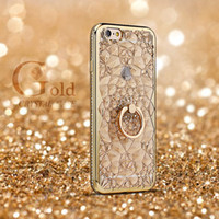 Wholesale Diamond Crystal Case Phone - For iPhone 7 6 3D Plating Glitter Flowers Case Soft TPU Diamond Ring Holder Cover For iPhone7 6s Plus Crystal Phone Bags