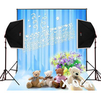 Wholesale children toy computer - happy birthday toy bears bunch flowers photo background newborn photos studio digital props camera fotografica vinyl photography backdrops