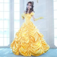 Wholesale Belle Beauty Beast Costumes Adults - 2017 Beauty and the Beast Cosplay Costumes Princess Belle Luxurious Dress Women Adult Ball Gown Fancy Cloaks for Christmas