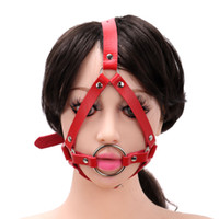 Wholesale Hook Gag - Metal Ring Open Mouth Gag Ball Gag With Nose Hook SM Tools Sex Slave Mouth Plug Full Head Harness Fetish Sex Toy