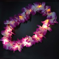 Wholesale Hawaii Costume - 2017 Glowing LED Light Up Hawaii Luau Party Flower Lei Fancy Dress Necklace Hula Garland Wreath Wedding Decor Party Supplies 10-LEDs