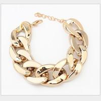 Wholesale Curb Link Charm Bracelets - Wholesale-Women Punk Simple Charm GOLDEN Shiny Alloy Chin Chunky Curb Chain Bracelet Stack