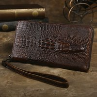 Wholesale- Brand Design Men Business Vintage Long Wallet Authentique Cuir de Vache Crocodile Modèle Style Sac à main Homme Sacs à Main Clutch Décontracté