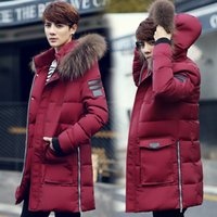 Wholesale Trench Coat Fur Hood - Wholesale- New 2016 winter fashion zipper design middle long cotton-padded jacket men trench coat with fur hooded thick parka hombre MDY4