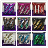 Wholesale Wholesale Decorative Pillowcases - Mermaid Sequin Pillowcases two tone sequin pillowcases continental mermaid decorative pillow case Decorative Pillow Covers 9 Colors