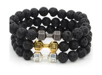 Wholesale dumbbell beads resale online - 2018 New Alloy Barbell Lava Rock Stone Beads Fitness Fashion Dumbbell Bracelets Men s Gift