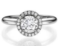 Wholesale Si Diamond Ring - G-H SI Round Cut Enhanced Diamond Engagement Ring 1.40 CT 18K White Gold Women's