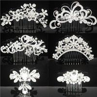 Wholesale Crystal Flowers Combs Crowns - Bridal Wedding Tiaras Stunning Fine Comb Bridal Headpieces Jewelry Accessories Crystal Pearl Hair Brush utterfly hairpin for bride