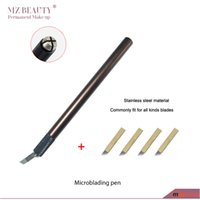 Wholesale Tattoo Pen Tool Machines - Wholesale- Microblading pen Permanent make up machine Manual Eyebrow Makeup Tattoo Pen Microblading tool tebori pen with 4pcs12pins blade