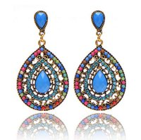 blue diamond swarovski crystals - 2017 Fashion Bohemain Jewelry Swarovski Crystals Chandelier Earrings For Women Cheap Blue Black Green Brown Beige Colored
