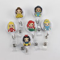 Wholesale Sheets For Girls - 6 pcs Cartoon Beauty Girl Badge Holder Retractable ID Badge Reel with Belt Clip for ID Card Badge Holder Tag Office Stationery