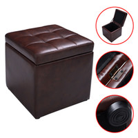 ottoman footstools - Cube Ottoman Pouffe Storage Box Lounge Seat Footstools with Hinge Top Brown Leather