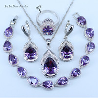 collar de gota de agua de cristal al por mayor-LB Australia Cristal Gota de agua plata 925 Juegos de joyas de plata esterlina para mujeres Pulsera / Pendientes / Collar / Colgante / Anillos