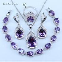 kristal küpeler avustralya toptan satış-LB Avustralya Kristal Su Damlası gümüş Kadınlar Için 925 Ayar Gümüş Takı Setleri Bilezik / Küpe / Kolye / Kolye / Yüzükler