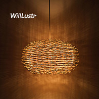 Wholesale pendants lights resale online - willlustr wicker pendant lamp handmade bird nest suspension light hotel restaurant mall bar lounge porch rattan hanging chandelier lighting