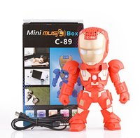 Wholesale Mp3 Tf C - C-89 Iron Man Original Bluetooth Speaker with LED Flash Light Deformed Arm Figure Robot Portable Mini Wireless Subwoofers TF FM USB Card