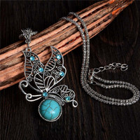 Wholesale China Ladies Designs - Vintage Butterfly Necklace Tibetan Silver Design Lady Jewelry Turquoise Necklaces & Pendants For Memorial Gift