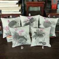 Wholesale Chinese Ink Paintings Lotus - ZEN Ancient Chinese Style Traditional Chinese Ink-wash Painting Black and white Lotus Flower pillow Sofa linen velvet cushion cover 45*45cm