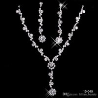 Wholesale Cheap Christmas Necklace Sets - Fashion Wedding Jewelry Christmas Cheap Bling Crystal Rhinestone Bridal Bridesmaids Jewelry Necklace Earrings Girls Prom Wear Accessories