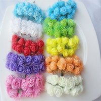 Wholesale Diy Artificial Mini Foam Flower - 144pcs set Artificial 2.5cm Head Multicolor PE Mini Rose Foam Flower Bouquet DIY Scrapbooking Wedding Party Decoration ZA3993
